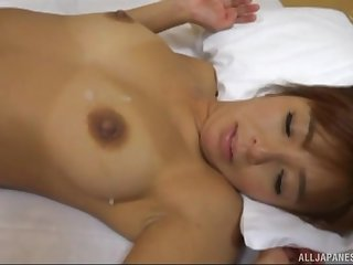Unaffected big pair of a Japanese MILF Kurata Hiromi get cum sprayed