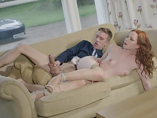 Broad in the beam stumble brings red-haired hottie Ella Hughes new sensations
