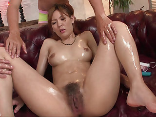 Hairy pussy Japanese beauty fucked just about toys