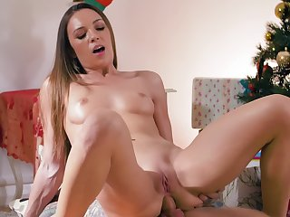 A skinny girl lands her wet cunt on a cock and she jumps up and down