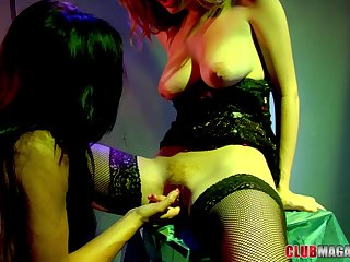 Lesbian action anent the club with Alyssa Reece and Faye Reagan