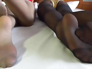 2 asians pantyhose soles tease