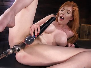 Long haired busty vixen Lauren Phillips pounded by machines in bondage