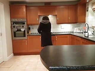 Indian wife gets hard fuck pounding on kitchen counter with cum on tits
