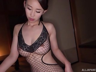 Before getting fucked, amazing Mori Hotaru sucked a friend's big dick