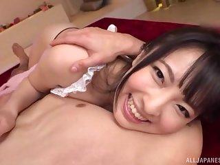 Busty Japanese hottie sucks the dick like a goddess
