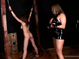 Some horny bondage during wild lesbian femdom with lusty Laura M