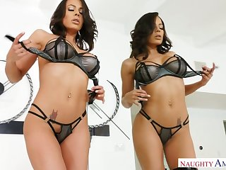 Naughty beauty Luna Star plays with titties before good doggy fuck