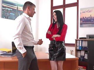 Lustful secretary Veronika masturbates pussy in the boss's office