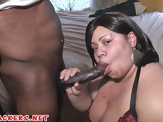 busty bbw ebony with big naturals blowing big black cock - homemade porn with cumshot