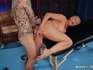 Bewitching Ryan Keely's big boobs are on display during a daring dicking