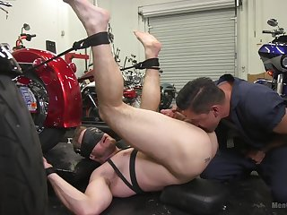 Gay male roughly fucked in the ass during full anal obedience