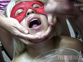 Premium Bukkake - Incognito swallows 34 big mouthful cum loads