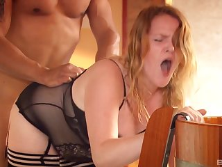 Redhead endures the rough inches of her man in that big ass