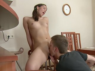 Teen Darla and her equally young boyfriend fuck while her parents are away