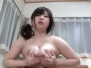 Busty Japanese loads a lot of penis in her chubby cunt