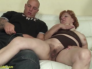 Crazy redhead 74 years old toothless grandma gets extreme rough big dick banged