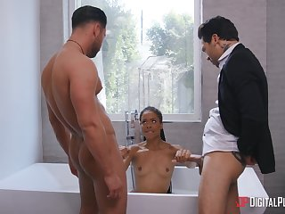 The curvy ass ebony whore wants both these dicks inside her