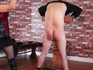 Femdom Tied Slave Extreme Ballbusting and Whipping Torture PART1