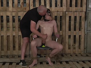 Submissive gay man endures the rough anal in kinky BDSM