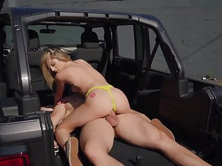 Fucked in the back of the Jeep after she throats the big dong