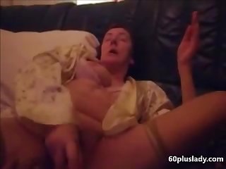 Granny masturbating with dildo and reach a great orgasm
