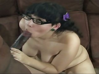 Wet pussy of amateur pale nerdy nympho is fucked doggy style hard
