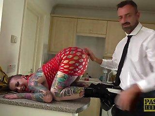 Fully tattooed slut Piggy Mough enjoys having rough sex on the floor