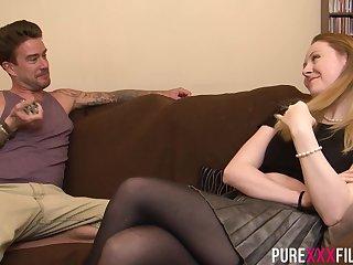 Ruby is wearing nothing but black stockings while cheating on her boyfriend with his best friend