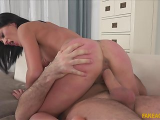 Hard sex for the slim casting babe after a nice interview