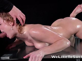 Naughty blondie Chrissy Fox is face fucked before a steamy tugjob session