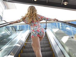 Fit blonde teen Bella flashes her ass and boobs in public. HD