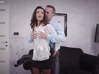 Sweet woman pleases the man of the house with the best fuck in his life