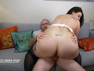 Spanish busty BBW rides her boss