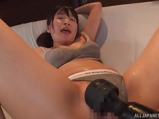 Insolent Japanese fucked with toys and made to swallow