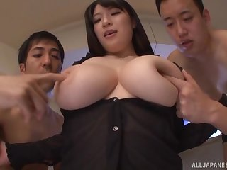 Japanese with huge melons, insolent home threesome on cam