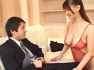 Amazing hottie Ai Sayama jerking a cock with her firm boobies