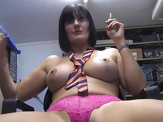 Dirty babe Paige Monroe loves smoking while pleasuring her pussy