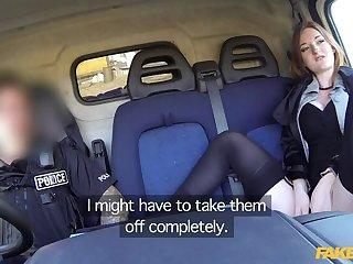 Hot ginger gets fucked in cops van