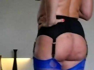In my blue FF nylon stockings and garter belt.