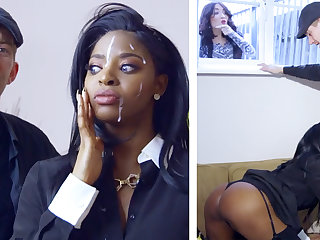 Horny ebony realtor gets railed at the end of one's tether a big-dicked white young man