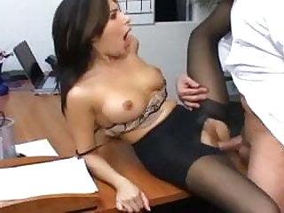 Office sex with a busty secretary in sexy hosiery