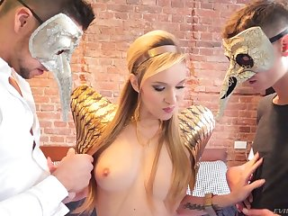Lewd pale bride Angel Piaff enjoys random hard MMF threesome