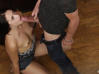 Tiny tits sweetheart sucks his big cock sloppily