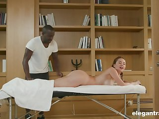 Teen blonde babe Paulina Soul massaged and pounded by a black guy