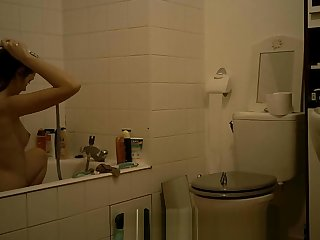 College Teen Brunette Spy Bathroom Part 1