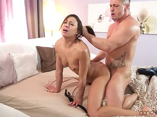 Small titted French porn star Cassie Del Isla has a brutal fuck session