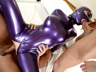 Perverted big racked Latex Lucy rides dick while giving super solid blowjob