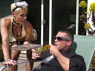 Strict mistress puts on strapon and fucks anal hole of handsome dude Lance Hart