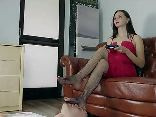 Dominant Angelina in fishnet tights